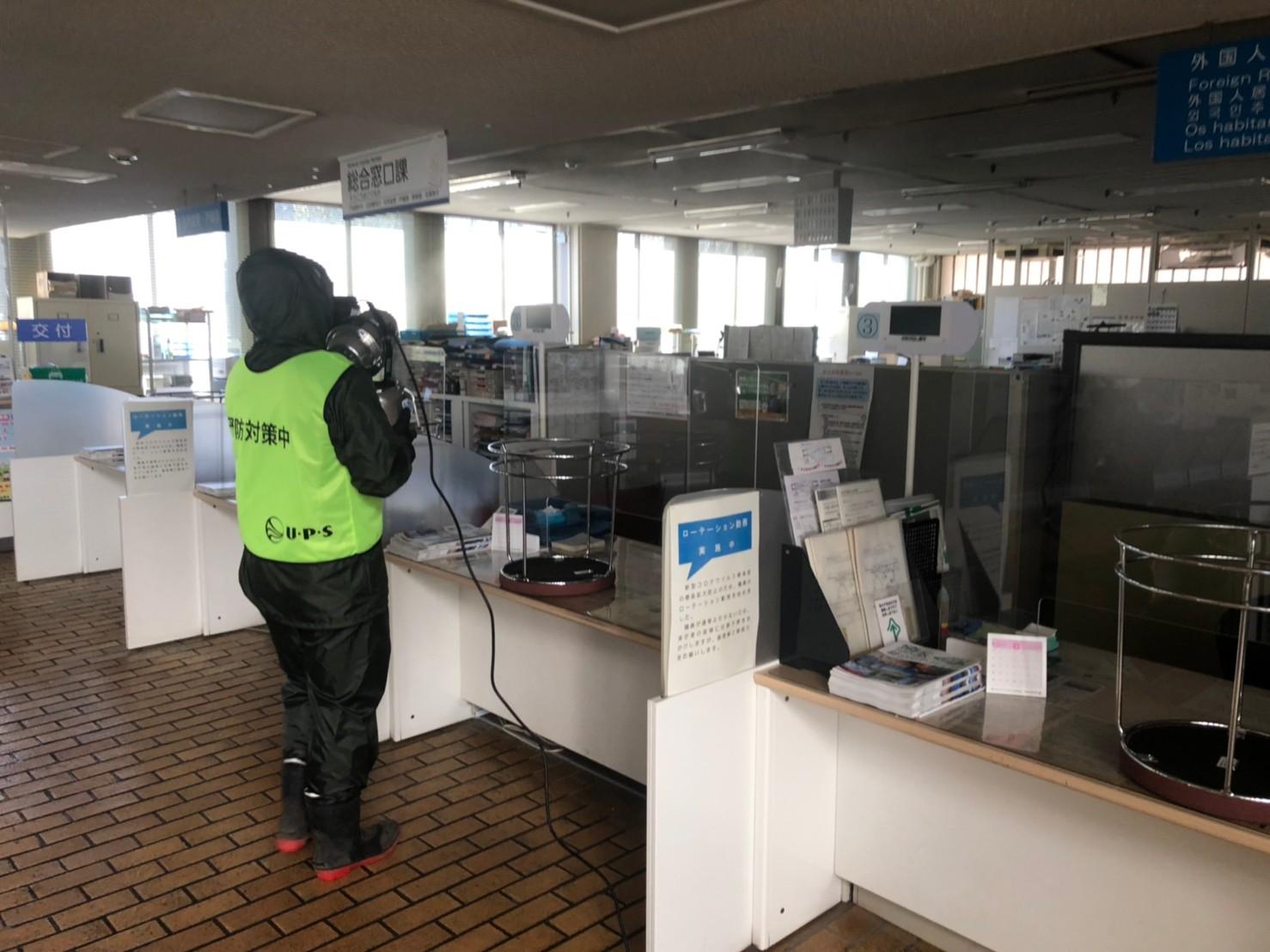 朝霞市役所の予防消毒をボランティアで行いました