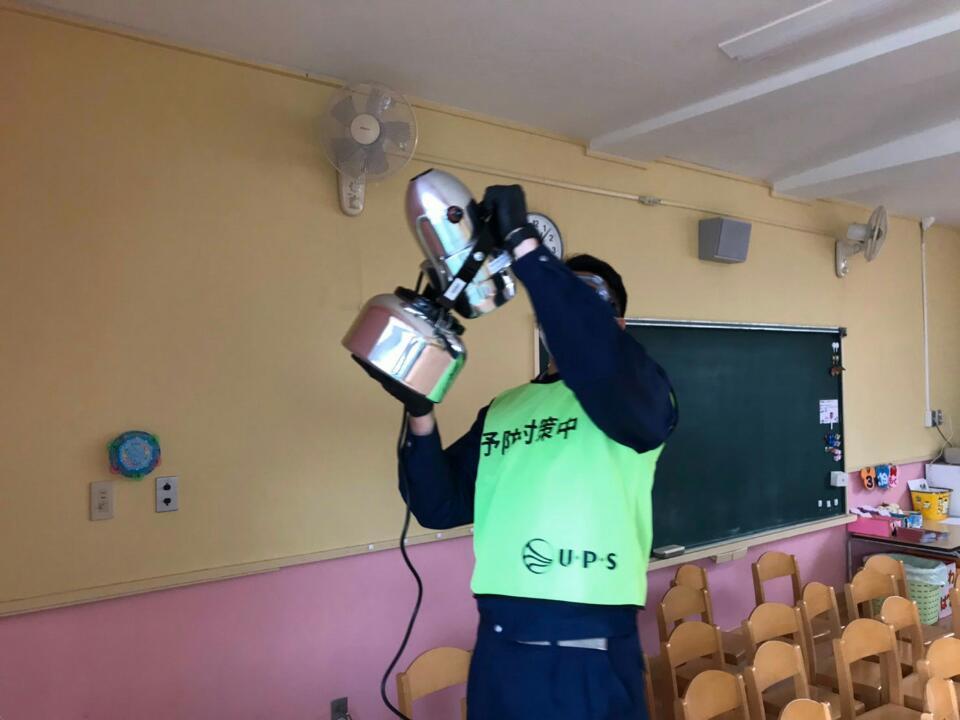 朝霞市たちばな幼稚園・朝霞市大山保育園で予防消毒を行いました。